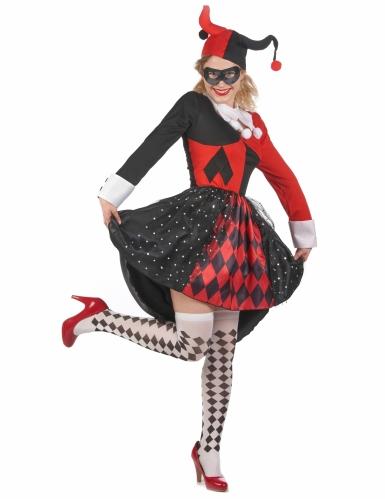 Déguisement arlequin méchant rouge et noir femme