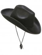 Chapeau cowboy noir adulte avec cordelette