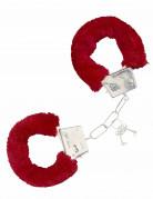 Menottes en fourrure rouge adulte