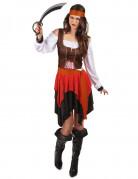 Déguisement pirate avec gilet marron femme
