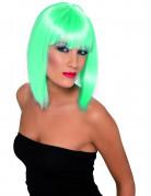 Perruque mi-longue bleu turquoise fluo femme