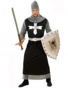Déguisement chevalier médiéval noir et argent homme