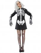 Déguisement squelette noir et blanc femme Halloween