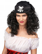 Perruque brune de pirate femme