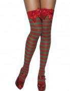 Bas rayés avec noeud rouge et vert elfe femme Noël