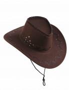Chapeau cowboy marron effet suédé adulte