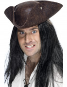 Tricorne pirate marron adulte
