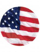 8 Assiettes drapeau américain 27 cm