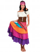 Déguisement bohémienne multicolore femme