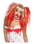 Perruque poupée blonde sanglante coiffée femme Halloween