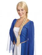 Perruque blonde médiévale avec tresse femme