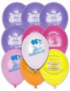 10 Ballons Joyeux anniversaire multicolores 30 cm