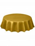 Nappe ronde en plastique dorée 213 cm