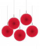 Décorations à suspendre rosaces rouges