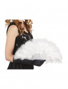 Eventail à plumes blanches 25 cm