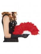 Eventail à plumes rouges 25 cm