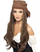 Perruque longue chatain pirate femme