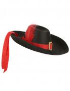 Chapeau mousquetaire noir et rouge adulte