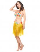 Jupe hawaïenne courte jaune adulte