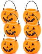 6 Mini seaux citrouilles d'Halloween 6,5 x 5 cm