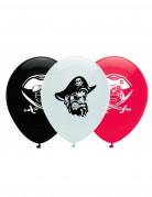 6 Ballons en latex pirate noir, blanc et rouge 30 cm