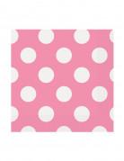 16 Petites serviettes en papier roses à pois blancs 25,4 x 25,4 cm