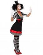Déguisement mime robe noir et rouge femme