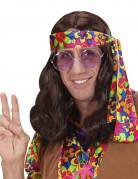 Perruque marron hippie adulte