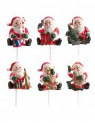 6 Décorations de Noël sur pic Père Noël