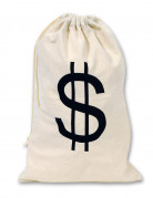 Sac en tissu Dollars beige 42 x 26 cm