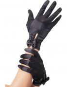 Gants courts noirs avec noeud femme