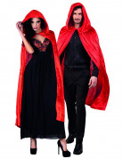 Cape rouge aspect velours 120 cm adule Halloween