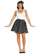 Jupe et foulard noirs à pois années 50 femme