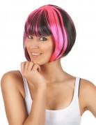 Perruque carré court mêchée noir et rose femme