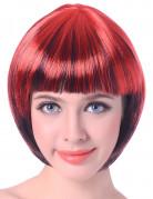 Perruque courte rouge et noir femme