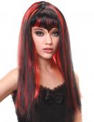 Perruque vampire longue noire et rouge avec frange femme
