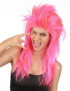 Perruque chanteuse de rock rose femme