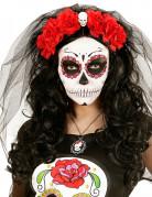 Coiffe fleurs rouges avec tête de mort femme Dia de los muertos