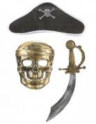 Kit de pirate en plastique - Sabre,chapeau et masque Enfant