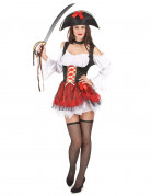 Déguisement pirate sexy blanc et rouge femme