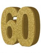 Décoration de table 60 ans dorée 20 x 20 cm