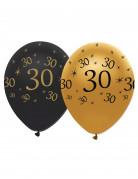 6 Ballons en latex 30 ans noirs et dorés 30 cm