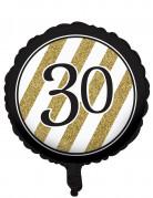 Ballon aluminium 30 ans noir et doré 46 cm