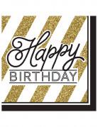 16 Serviettes en papier Happy Birthday noires et dorées 33 x 33 cm