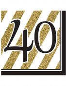 Vous aimerez aussi : 16 Serviettes en papier 40 ans noires et dorées 33 x 33 cm