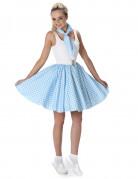 Déguisement années 50 bleu clair à pois femme