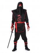 Déguisement ninja noir et rouge homme