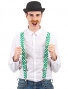 Bretelles vertes avec trèfles blancs Saint Patrick