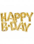 Ballon aluminium lettres Happy Birthday doré
