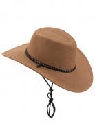 Chapeau cowboy luxe marron en suede adulte